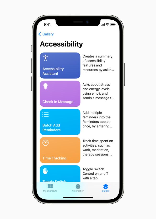 iPhone 12 Pro 上正在显示 Siri 捷径中的辅助功能助手。