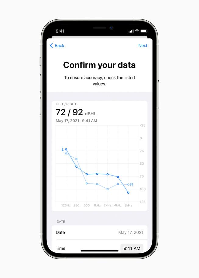 iPhone 12 Pro 的耳机调节界面正在显示听力图。