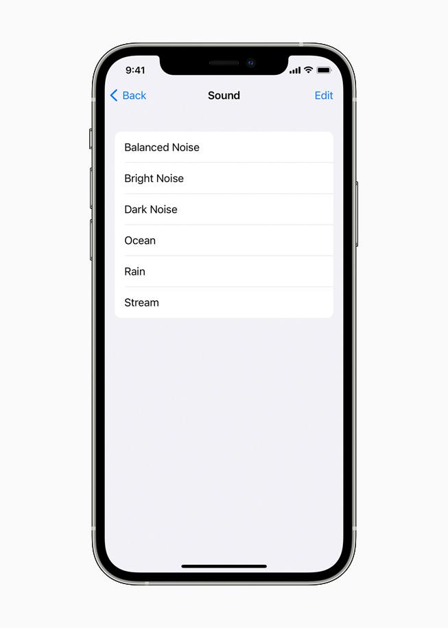 iPhone 12 Pro 上正在显示各种背景音选项。