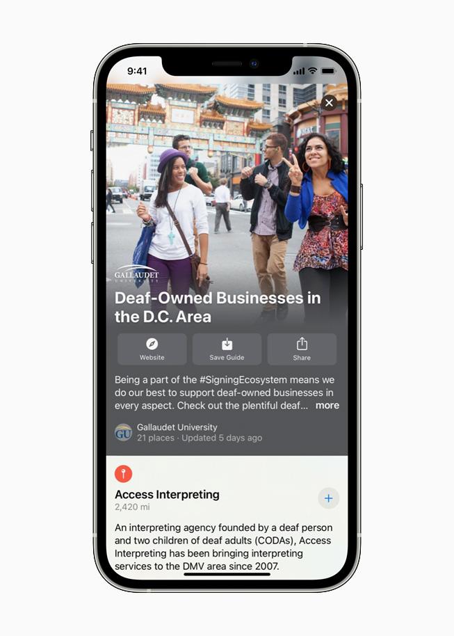 iPhone 12 Pro 上正在显示 Apple 地图中来自 Gallaudet 大学的导航内容。