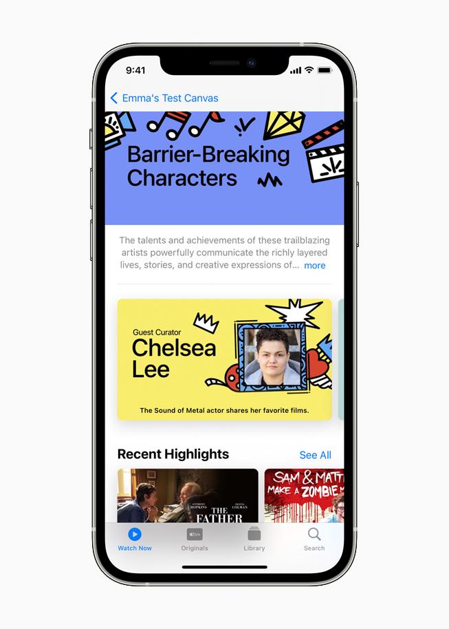 iPhone 12 Pro 上顯示的 Apple TV 精選系列。
