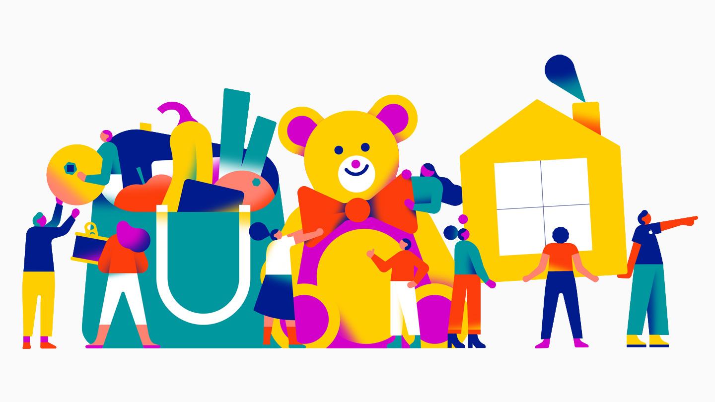 描绘不同类型善举的插图,包括食物和玩具募捐活动和住房援助。