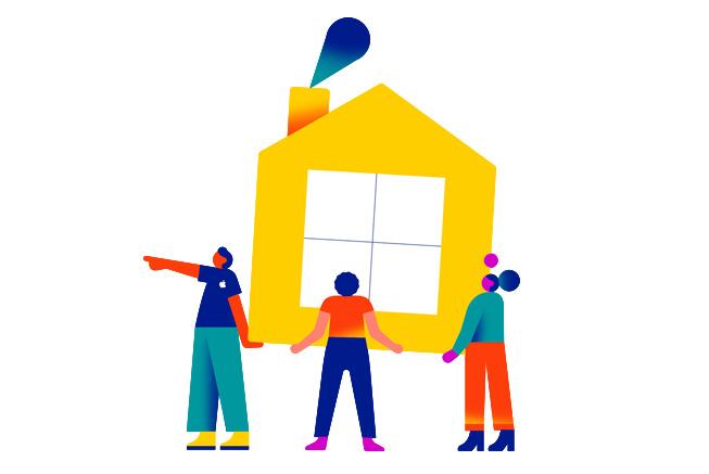 三个人举起一座房子,象征住房援助的概念。