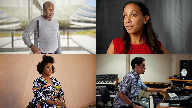 四宫格肖像照,从左上起顺时针方向依次为:Dean Hudson、Haben Girma、Matthew Whitaker 和 Tatiana Lee。