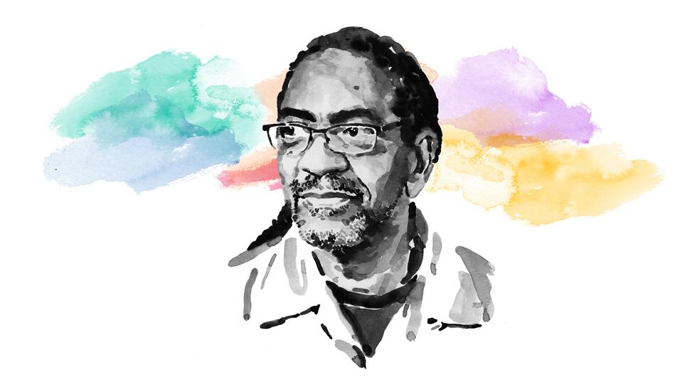 Carl Owens 博士的水彩人像画。