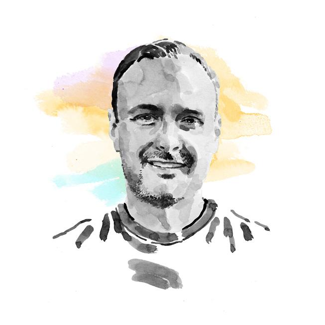 Jason Beach 博士的水彩人像画。