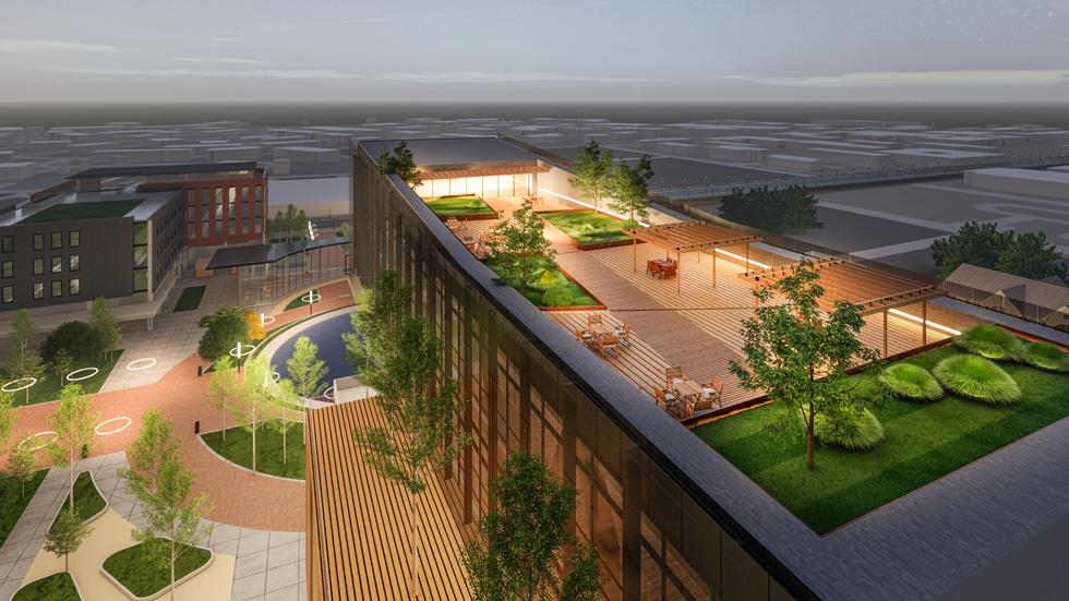 Propel Center 园区鸟瞰效果图。