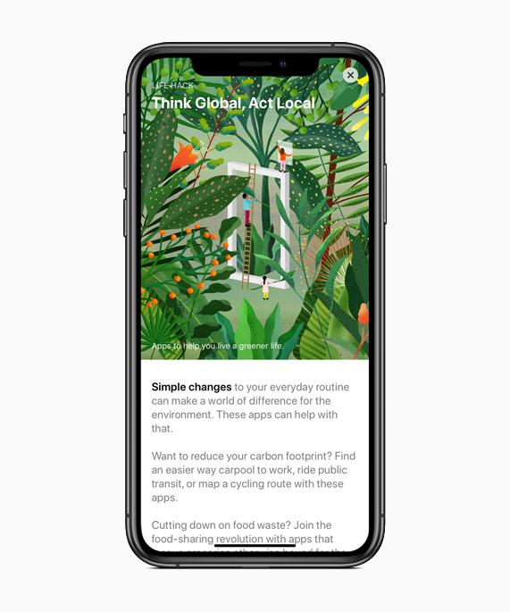 iPhone 显示 App Store 中的地球日系列内容。