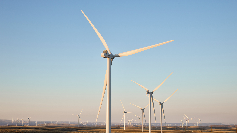 俄勒冈州 Montague 风电场的风力涡轮机。