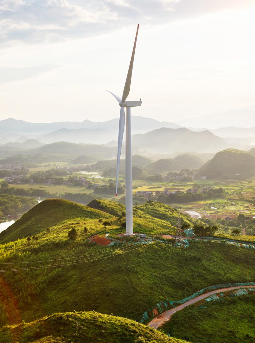 协合井塘风电场风力涡轮机全貌。