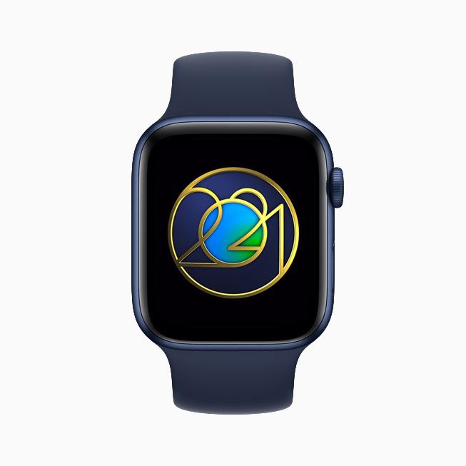 地球日奖章,在 Apple Watch Series 6 上展示