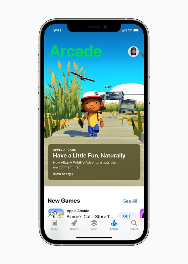 在 iPhone 12 Pro 上展示 App Store 上体现环保意识的 app。