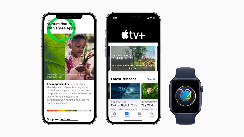 Apple 在 App Store、Apple TV+、Apple Fitness+ 上的地球日活动,分别在两台 iPhone 12 Pro 机型和 Apple Watch Series 6 上展示。