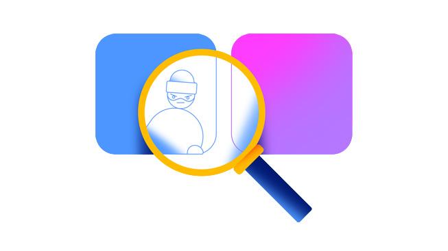 放大镜显出 app 图标后面的窃贼,象征欺诈性评分和评论。