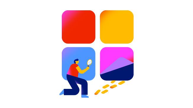 一个用放大镜查看一条足迹的人物,象征 Apple 主动采取行动,根除 App Store 中的欺诈行为。