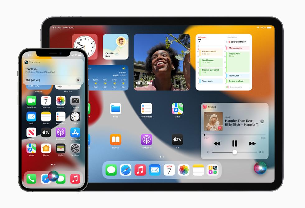 Siri 翻译请求正在前台处理,于 iPhone 12 Pro 和 iPad Pro 上展示。