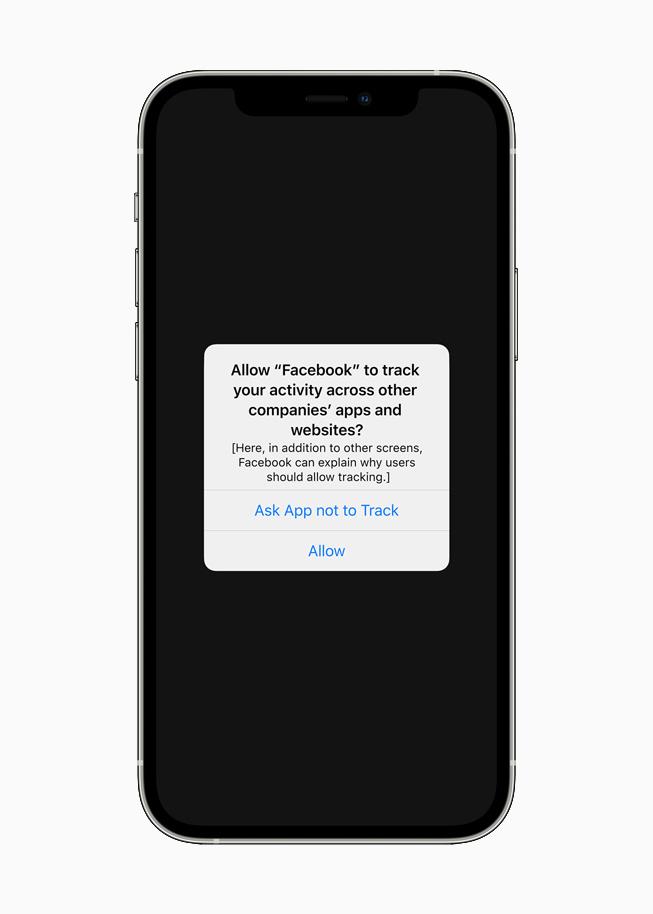 "iPhone 12 上显示""App 跟踪透明度""通知。"